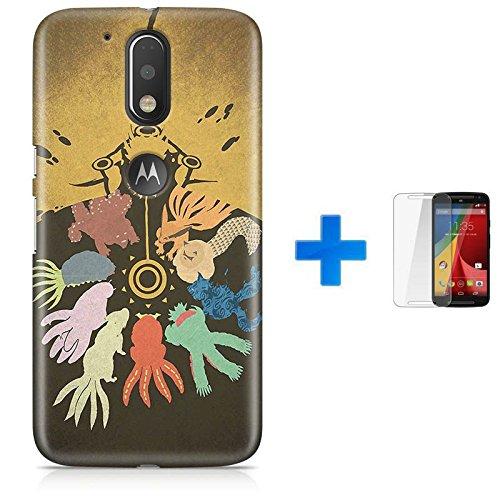 Kit Capa TPU Moto G4 Play Naruto Bestas de Cauda + Pel Vidro (BD30)