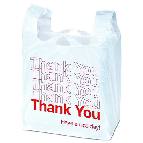 Universal 63036 Plastic 'Thank You' Shopping Bags, 18.11 x 3.15 x 22, 0.55 mil, White/Red, 250 Per Box