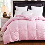 Spring Light Weight 85/15 White Goose Feather Down Comforter Duvet Quilt,CAL King Size,Pink