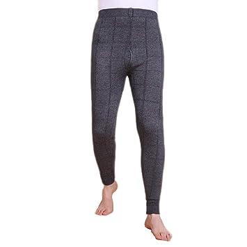 Ropa interior térmica para hombres, engrosamiento de doble capa y remiendo rodilleras Pantalones de cachemira