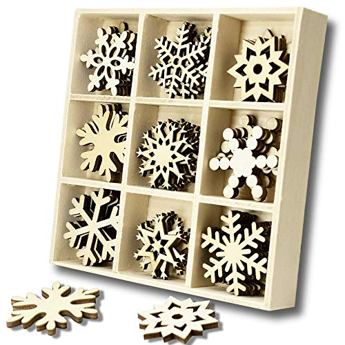YuQi 45 PCS Wooden Scrapbooking Festive Embellishments Kits with Storage Tray, Mini Laser Cuts Wood Shapes, Crystals Ornaments Contains Snowflakes Theme Designs Presents Tags
