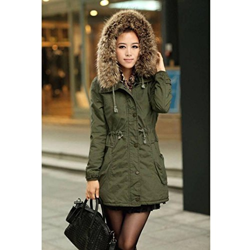 Pocciol Women's Hooded Warm Winter Faux Fur Lined Parkas Long Coats
