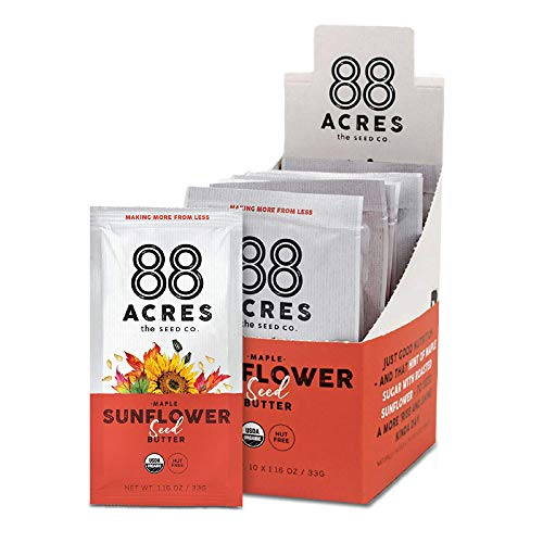88 Acres, Organic Maple Sunflower Seed Butter, Single-Serve Squeezable Pouch, Nut-Free, Non-GMO, Dairy-Free, 20 Pouches (1.16 Oz)