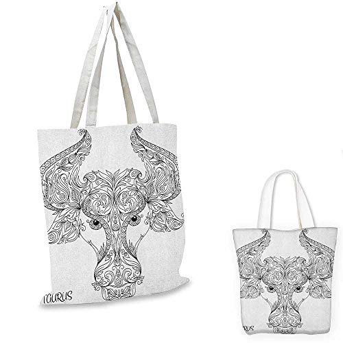 Zodiac thin shopping bag Astrological Icon Pattern with Curved Flower Lace Style Motifs on Horns Cute Image canvas tote bag Black White. - Zip Double Gi Dress
