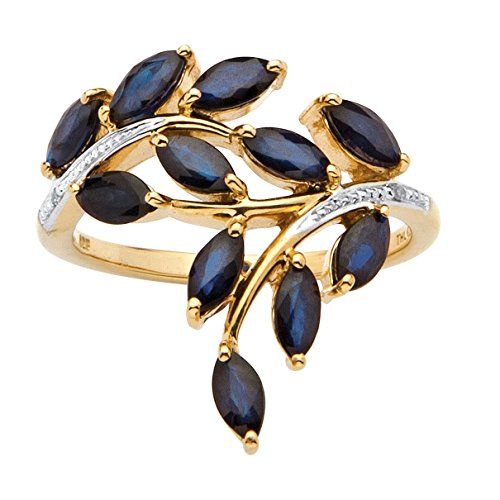Midnight Blue Sapphire (Genuine Marquise-Cut Midnight Blue Sapphire Diamond Accent 18k Gold over .925 Silver Ring)