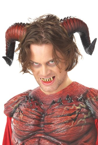 California Costumes Men's Demon Horns W/Teeth,Red,One Size Costume -