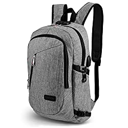 ONSON Business Laptop Backpack, Anti Theft Bookbag for Women &Men, Water-resistent College Backpack with USB Charging Port Fits UNDER 15.6-Inch Laptop & Notebook (Grey)