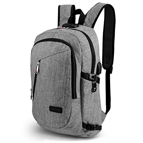 "ONSON Business Laptop Backpack, Anti Theft Bookbag for Women &Men, Water-resistent College Backpack with USB Charging Port Fits UNDER 15.6"" Laptop & Notebook (Grey)"