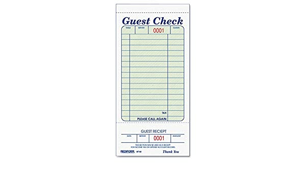 3 3//8 x 6 1//2 50//Book Rediform 5F740 Guest Check Book Tear-Off at Bottom