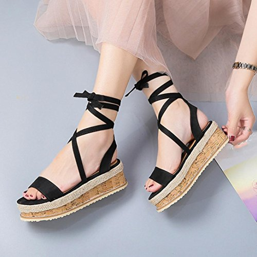 Sandalias Mujer De Bohemia Zapatillas Moda Bailarinas Grueso de Sandalias Tejido Zapatos Chanclas Planas y Espesor Cuero C Verano Cordones De ASHOP Las de Playa d5xwd