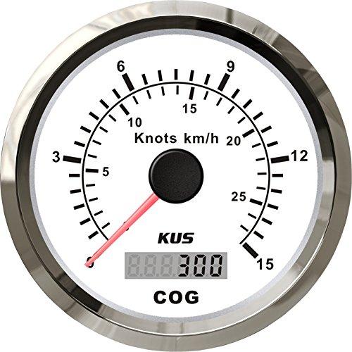 schwarz KUS Universal GPS Tachometer 15 Knoten 28 km//h Geschwindigkeitsanzeige f/ür Boote Yachten 85 mm mit Hintergrundbeleuchtung 9-32 V