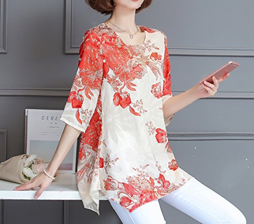 T New Imprim Blouse Lache Automne Fashion Chemises Printemps Femme Chemisiers orange Manches Rouge Tops Mousseline Col 3 Shirt Rond 4 Haut qySwg6CU
