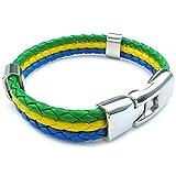 SODIAL(R)brazilian Flag Leather Alloy weaving Long bracelet 20cm Yellow Green Blue