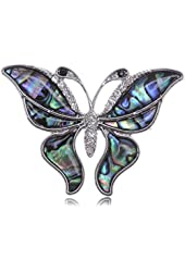 Alilang Silver Tone Abalone Clear Crystal Colored Butterfly Insect Brooch Pin