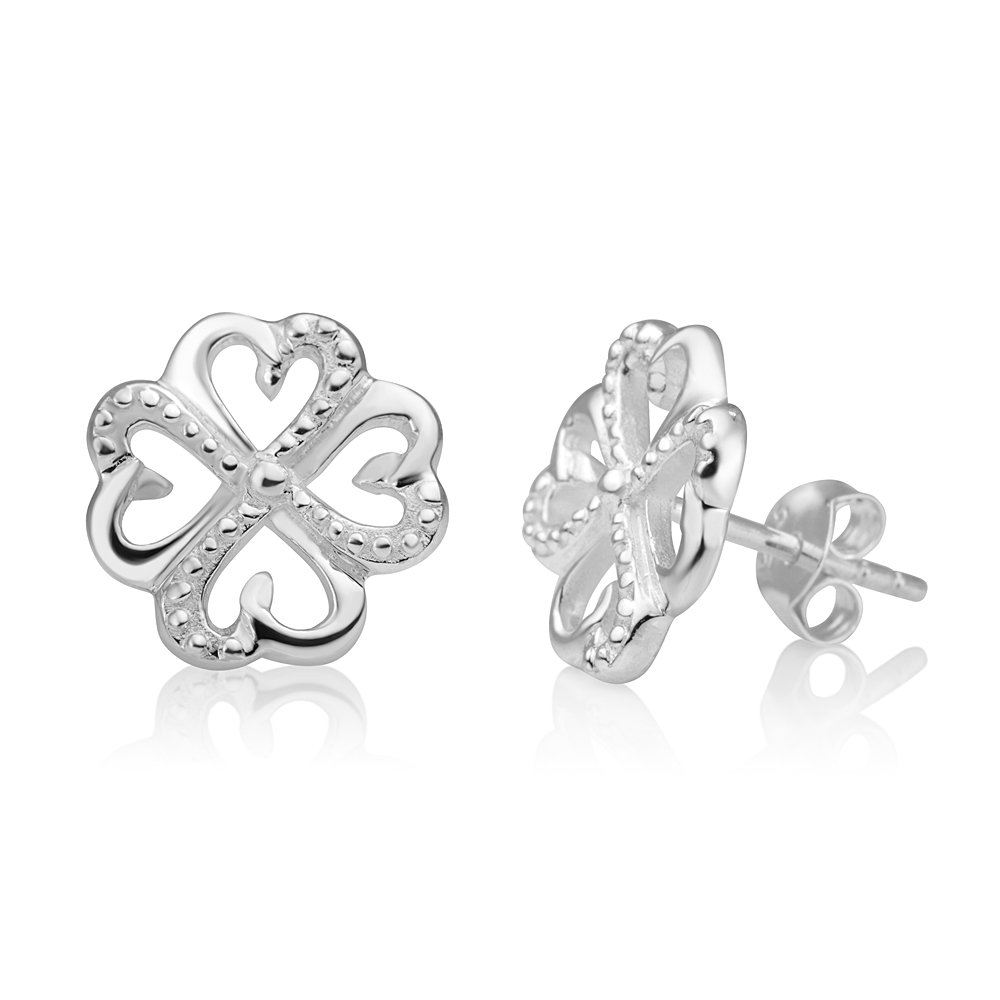 d4a12c7fc Amazon.com: 925 Sterling Silver Lucky Irish Four (4) Leaf Clover Heart  Shaped Open Post Stud Earrings 13 mm: Jewelry