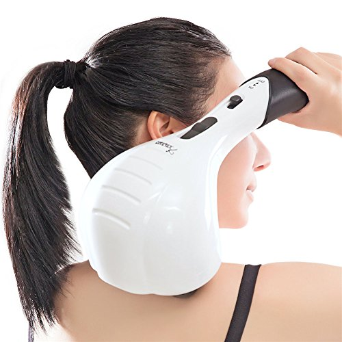 VIKTOR JURGEN Handheld Back Massager - Double Head Electric Full Body Massager - Deep Tissue Percussion Massage for Muscles, Head, Neck, Shoulder, Back, Leg and Foot
