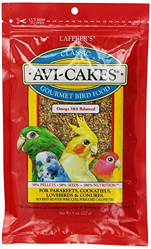 LAFEBER'S Classic Avi-Cakes Pet Bird Food, Made with Non-GMO and Human-Grade Ingredients, for Cockatiels Conures Parakeets (Budgies) Lovebirds, 8 ()