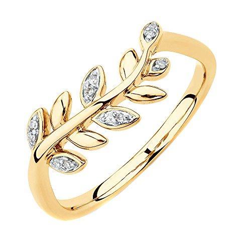 Yellow Gold 1/20 Ct TDW Round Cut Natural Diamond Olive Leaf Fashion Ring HI I2 (8.5) (Tdw Diamond Leaf Ring)