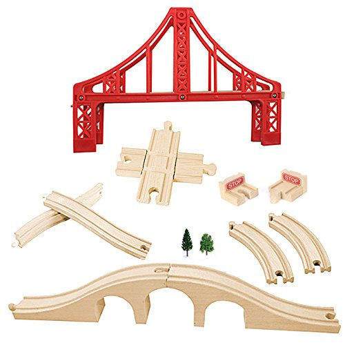 OrgMemory Wooden Train Set, Wooden Railway, Suspension Bridge, Brick Bridge, Crossing Track, Curved Track and Wooden Stop Track Compatible with All Major Brands ()