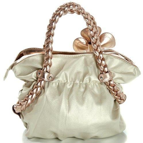 MG Collection Candice Metallic Weaved Handle Hobo Handbag, Gold, One Size