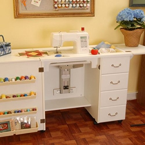 -Arrow Fully Assembled Norma Jean Sewing Cabinet in White