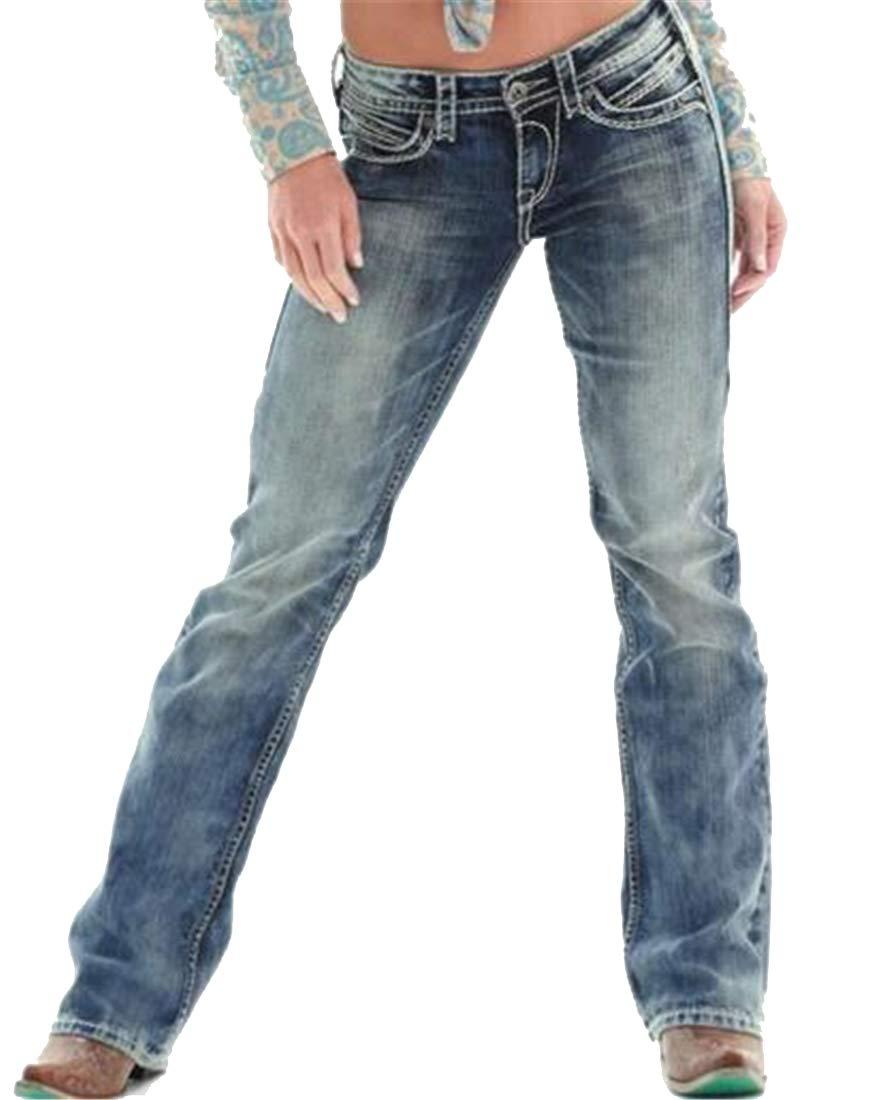 Jotebriyo Women Boot Cut Slim Casual Washed Low Rise Straight Leg Jeans Denim Pants Dark Blue 2XL