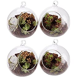 "T4U 4"" Glass Hanging Plant Terrariums Tealight Holder - Pack of 4, Globe Air Plant Pot Container Planter for Succulent Cactus Fern, Candle Holder for Party Wedding Decor Birthday"