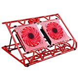 AICHESON Laptop Cooling Pad, Laptop Cooler 2 USB Ports 15 LED Lights Red Cool Notebook Colling Mat for 10''-15.6'' Computer