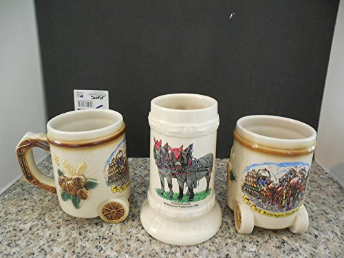 3 German Ceramic Steins 2 Cart Bobingen-Siedlung Wanderfreunde - Ceramic Cart