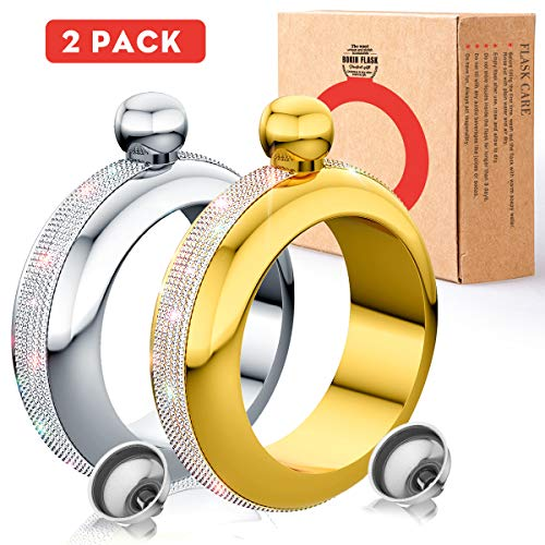 BOKIN Bracelet Bangle Flask 304 Stainless Steel Wine/Alcohol Wrist Flasket with Handmade Rhinestone Lid, Funnel in Gift Box For Women Girls Dance Birthday Party Club Bar 3.5oz 2 Pack (Silver Gold)