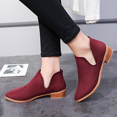 Schlauchstiefel Heel 41 Heels Platz Sexy Toe Schuhe Mode Sonnena Stiefel Niedrige Stiefel Boots Nackte Elegant Warm Heels 35 High Martin Einzelne Rot Damen Frauen High ZwWwqU1gpx