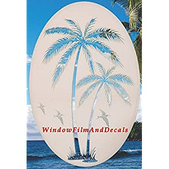 amazon com oval leaning palm trees etched window decal vinyl glass