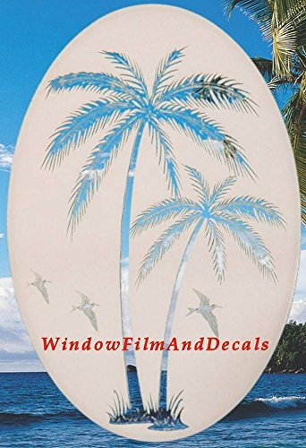 Oval Leaning Palm Trees Etched Window Decal Vinyl Glass Cling - 21