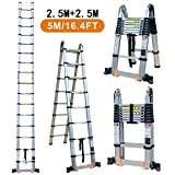 TUOGAO 16.4ft Aluminum Telescoping Extension Ladder Portable Multi-Purpose Folding A-Frame Ladder with Hinges, 150 kg Load Capacity for Home Loft Office