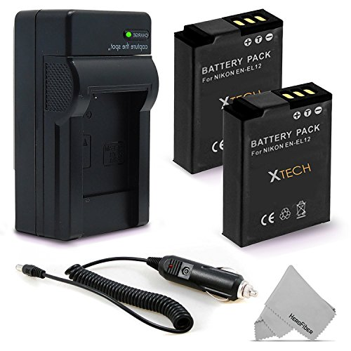 (2 Pack EN-EL12 / ENEL12 Battery and Battery Charger for NIKON Coolpix A900 AW100 AW110 AW120 AW130 S9900 S9700 S9500 S9300 S9200 S9100 S8200 S8100 S6300 P330 AW300)