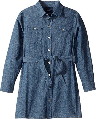 Belted Denim Shirt Dress (Toobydoo Baby Girl's Soft Denim Belted Shirtdress (Toddler/Little Kids/Big Kids) Denim 8)