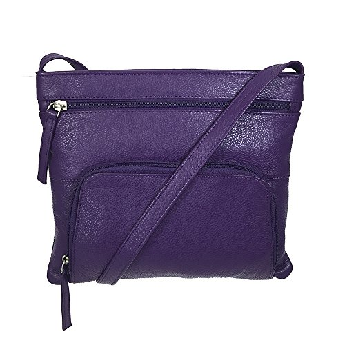 Travel Leather Purple Handbag Pielino Crossbody RFID Genuine 7F1Uq1