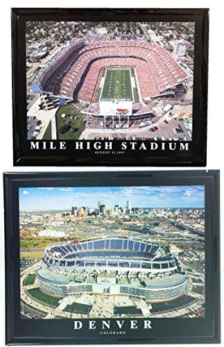 Denver Broncos Framed Prints Mile High Stadium NEW and OLD (Set of 2)
