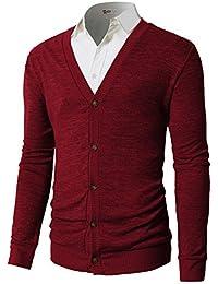 Mens Casual Slim Fit Basic Designed Long Sleeve V-Neck Front Button Cardigan