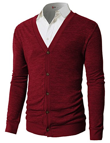 (H2H Mens Long Sleeve Button Down V-Neck Cardigan of Various Design RED US XL/Asia 2XL (CMOCAL019))