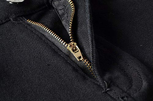 Jeans Dritti Denim Strappati Vita Slim Moda Abbigliamento Pantaloni Fit Media Uomo Alla Da Elasticizzati Nero A nIdCFqY