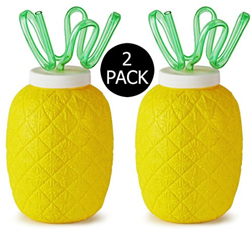 Set Of 2 Plastic Pineapple Cups with Krazy Straws - 26.4oz Each