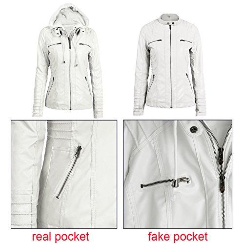 Hooded Zippered Motorcycle Women's Hoodie Romacci Jacket Faux Leather Jacket Coat Short White Slim ntO6x