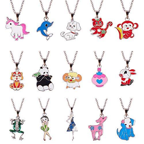 (SUNNYCLUE 1 Box DIY Enamel Animal Charm Pendant Necklace Making Kit 15pcs Unicorn Dog Panda Horse Cat Elephant Monkey Sheep Charm Beads, 15pcs Bails and 2pcs 18