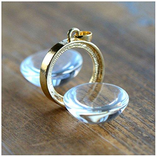 DIY GOLD Glass Magnifying Locket Pendant Bubble Pendant Picture Frame Charm