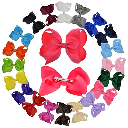 - LCLHB Grosgrain Ribbon Bow With Alligator Clips For Babies Teens and Juniors (4 Inch and Pack of 20)