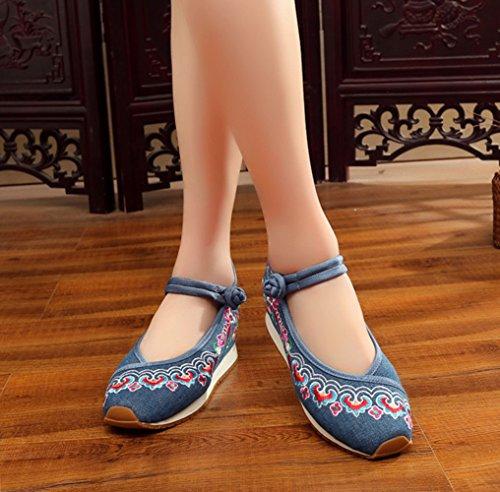 Avacostume Vrouwen Oude Peking Borduren Verhogen Reizen Sneaker Schoenen Blauw
