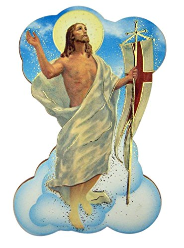 Religious Gifts Risen Jesus Christ Stamped Icon Statuette Magnet with Metal Stand, 2 7/8 Inch