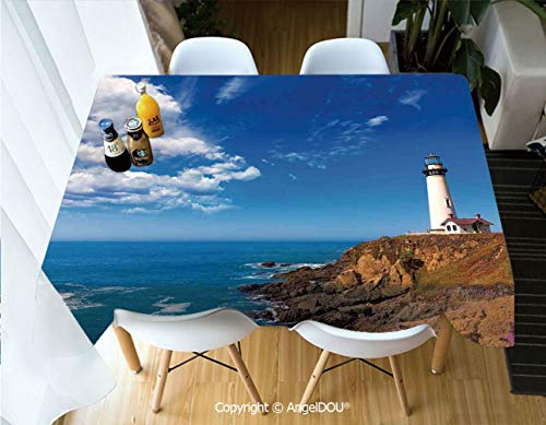 AngelDOU Rectangle Printed Waterproof Tablecloth California Pigeon Point Lighthouse in Cabrillo HWY Coastal Highway State Route 1 for Home Kitchen Dining Room Picnic Party,W55xL55(inch) ()