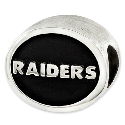 - Mia Diamonds 925 Sterling Silver LogoArt Enameled Oakland Raiders NFL Bead Charm for Charm Bracelet